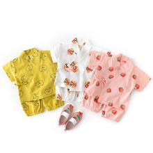 Детская одежда из хлопка для новорожденных маленьких спортивный костюм-кимоно для детей ясельного возраста 2 шт./компл. Штаны+ топы для маленьких мальчиков и девочек, Костюмы комплект одежды для маленьких детей, одежда для младенцев