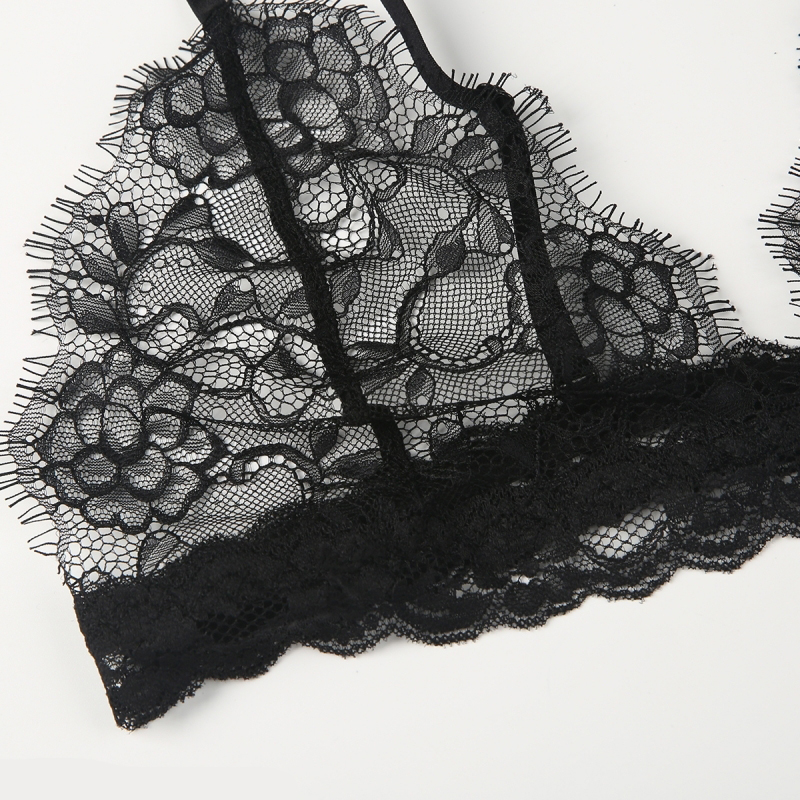 f7c812300321e6 HDY Haoduoyi Women Black Lace Bralette Bralet Bustier Elastic Strap Wire  Free Bra Plunge Neck Soft Breathable Underwear-in Bras from Underwear    Sleepwears ...