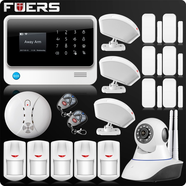 G90B Plus Wireless WiFi GSM GPRS SMS Home Security Alarm System LCD ISO Android App Control Wifi IP Camera
