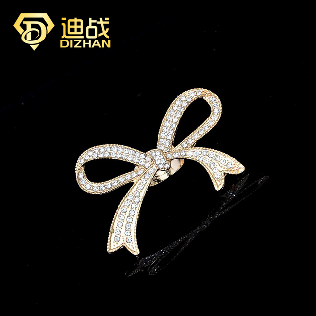 Hot Sell Fashion Silver/gold color Exaggerated Rhinestone Bowknot Ring  Sweet Shine Big Bow Rings for women gifts jewelry