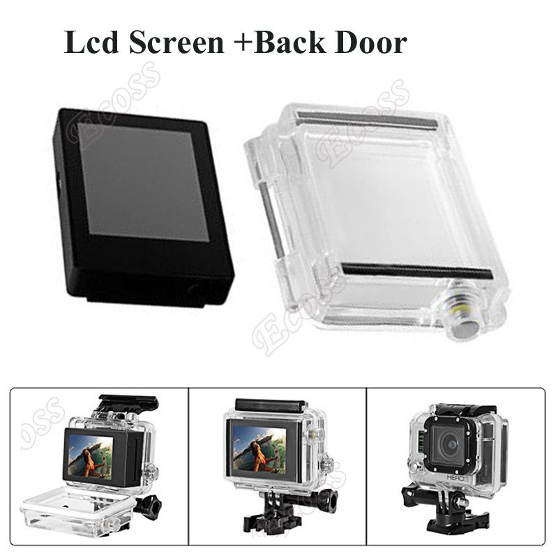 Suptig Lcd Screen For Gopro hero 3 3+ 4 Camera LCD Bacpac Display Viewer W/ Backdoor for GoPro Hero3 3+ 4 Camera Accessories plastic stainless steel adjusting screws for gopro hero 4 3 3 2 1 suptig sport dv 2 pcs