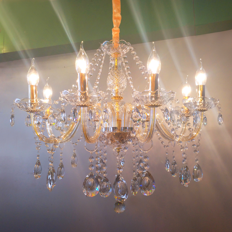 European candle crystal lamp 6/8 head gold living room bedroom chandelier atmospheric glass simple duplex house restaurant light european luxury crystal candle chandelier romantic bedroom chandelier high quality living room chandelier