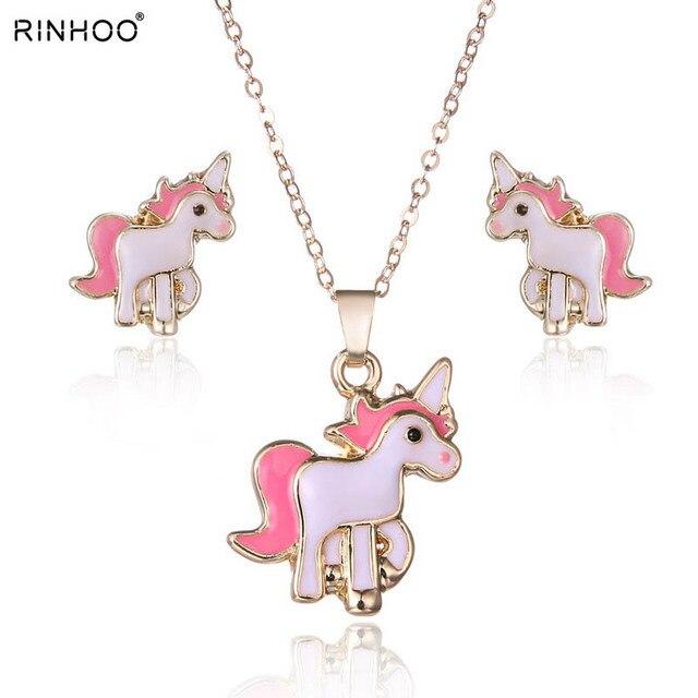 0bd88ec4ade3 Venta caliente Rosa animales conjunto de joyería de la cadena de joyería de  los niños de