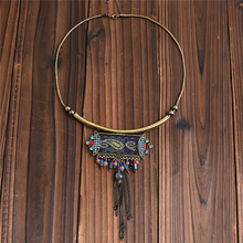 2016 New Ethnic Jewelry Boho Necklace Antique Gold Chain with Colorful Ribbon Geometric Tassel Pendant Female