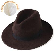 Chapéu fedora de feltro de lã australiana chapéu de fedora de feltro de lã 100% chapéu de jazz de borda larga do vintage chapéu chapeau femme outono inverno