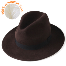 FURTALK 여성 남성 페도라 모자 100% 호주 양모 펠트 페도라 모자 와이드 브림 빈티지 재즈 모자 chapeau femme 가을 겨울 모자