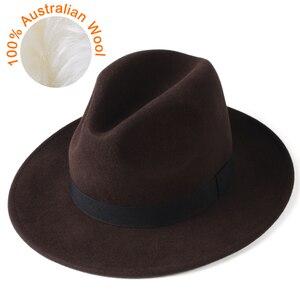 Image 1 - FURTALK النساء الرجال فيدورا قبعة 100% الاسترالي الصوف قبعة صغيرة فيدورا من اللباد واسعة حافة خمر الجاز قبعة فاتحة فام الخريف الشتاء قبعة