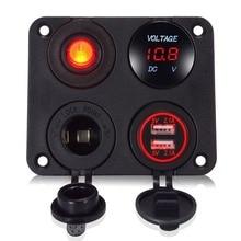 For car boat 4 in1 12-24V LED Voltmeter double USB Charger Switch Cigarette Lighter socket