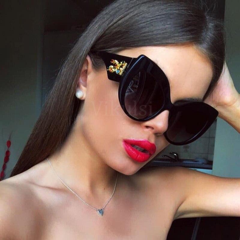 27e8c223b1787 2019 Nova Moda Olho de Gato Óculos De Sol Do Vintage Retro Mulheres Perna  Larga Marca. R  27 ...