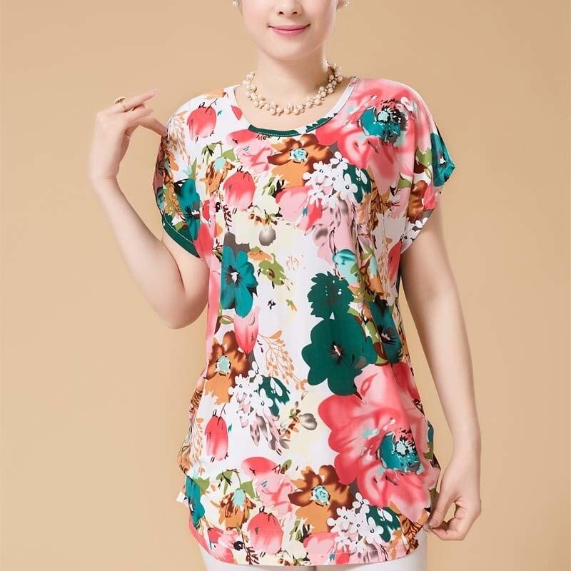 XL-5XL Mulheres Verão Estilo Casual Blusas Flor Roupas Plus Size Blusas de Manga Curta Floral Shirt Tops da mulher Rússia 56
