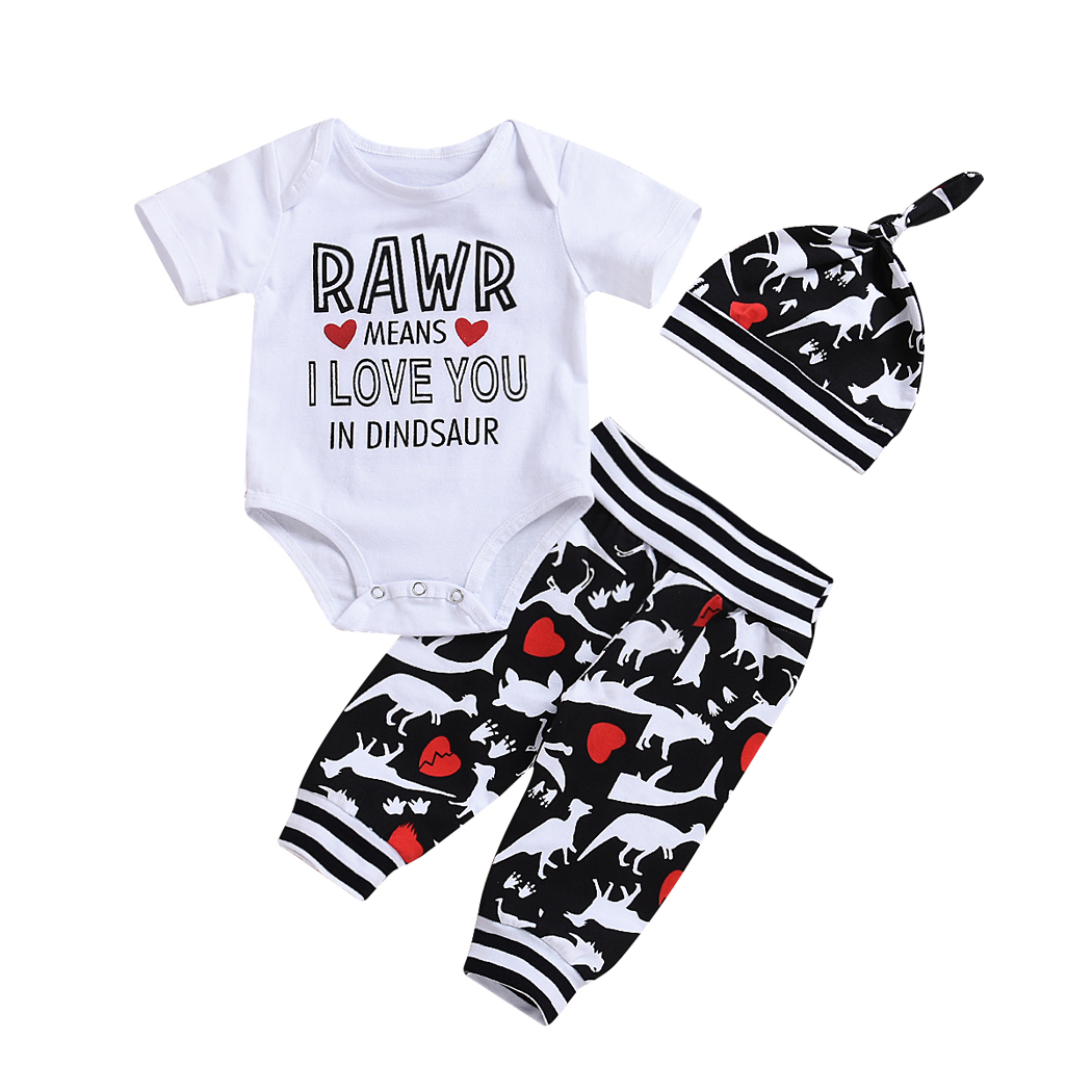 Newborn Infant Baby Boys Girls Clothes Short Sleeve Letter Print Bodysuit Jumpsuit Tops Dinosaur Print Pants Hat 3Pcs Set Summer