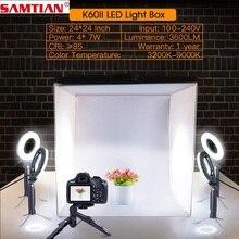 SAMTIAN מתקפל אור תיבת 60*60cm סטודיו Softbox תמונה תיבת עם טבעת אור חצובה עבור תמונה סטודיו אוהל צילום lightbox