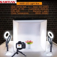 SAMTIAN Foldable Softbox Studio Light Box 60*60 With 4PCS LED Ring Light/5PCS Mini Tripod For Camera Phone Photography Lightbox