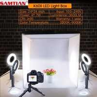 SAMTIAN Opvouwbare Light doos 60*60cm Studio Softbox Foto doos Met Ring Licht Statief Voor Foto Studio Tent fotografie lightbox