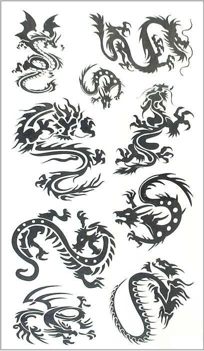 Nu-TATY Black Dragon Totem Temporary Tattoo Body Art Arm Flash Tattoo Stickers 17*10cm Waterproof Fake Henna Painless Tattoo 15