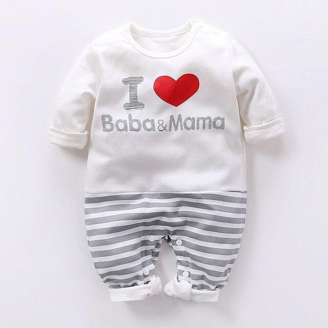 ebf51d851 I Love Baba Mama Romper Newborn Letter Striped Infant Kid New Born ...