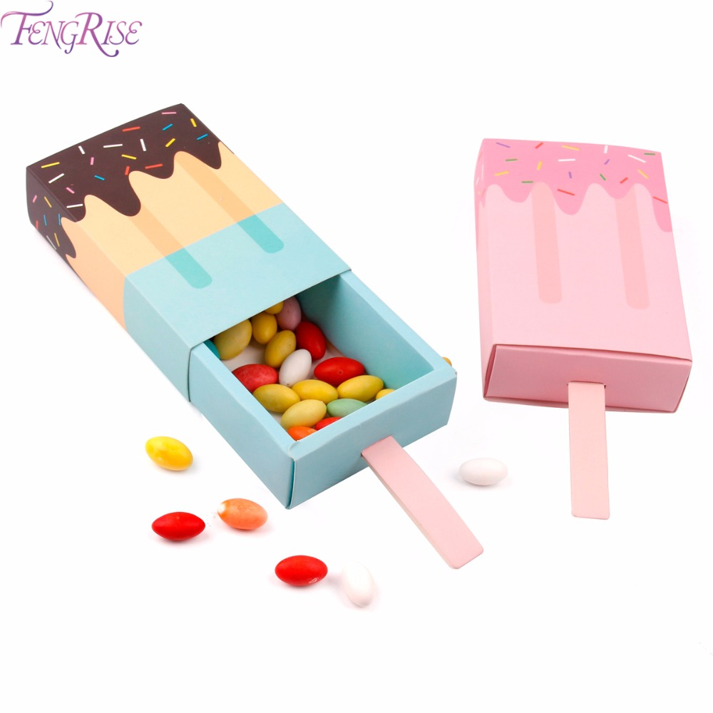 FENGRISE Ice Cream Shape Candy Boxes Kraft Bag Paper Popcorn Box Goodie Bags Gift Bag Kids Party Favors Candy Bag Birthday Decor(China)