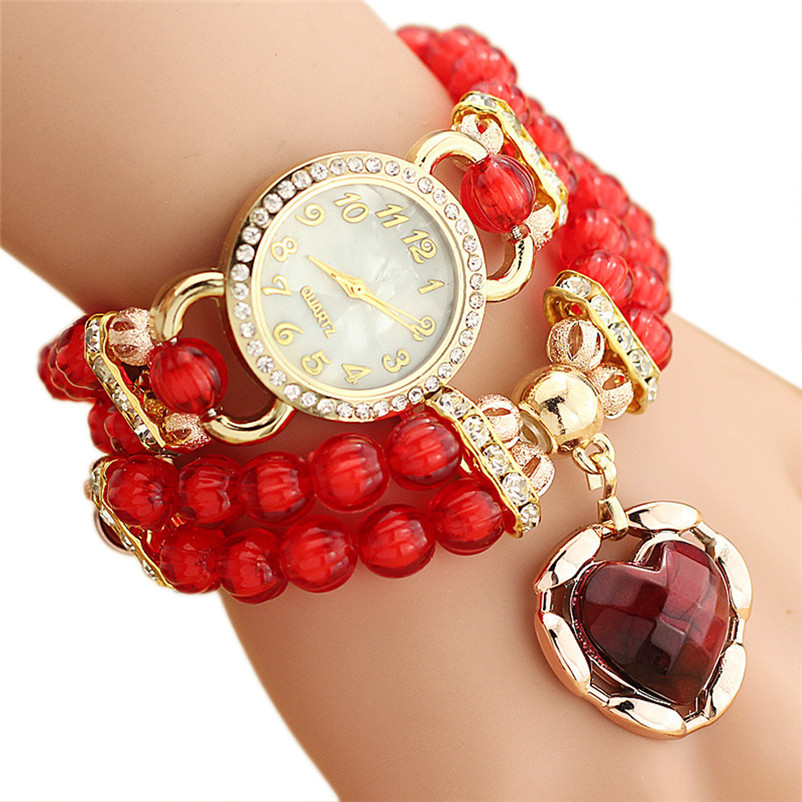 Fashion Women Watch Dress Clock Personalized Flowers Pearl Wrapped Bracelet Watch Ladies Fashion Students Watch relogio masculin