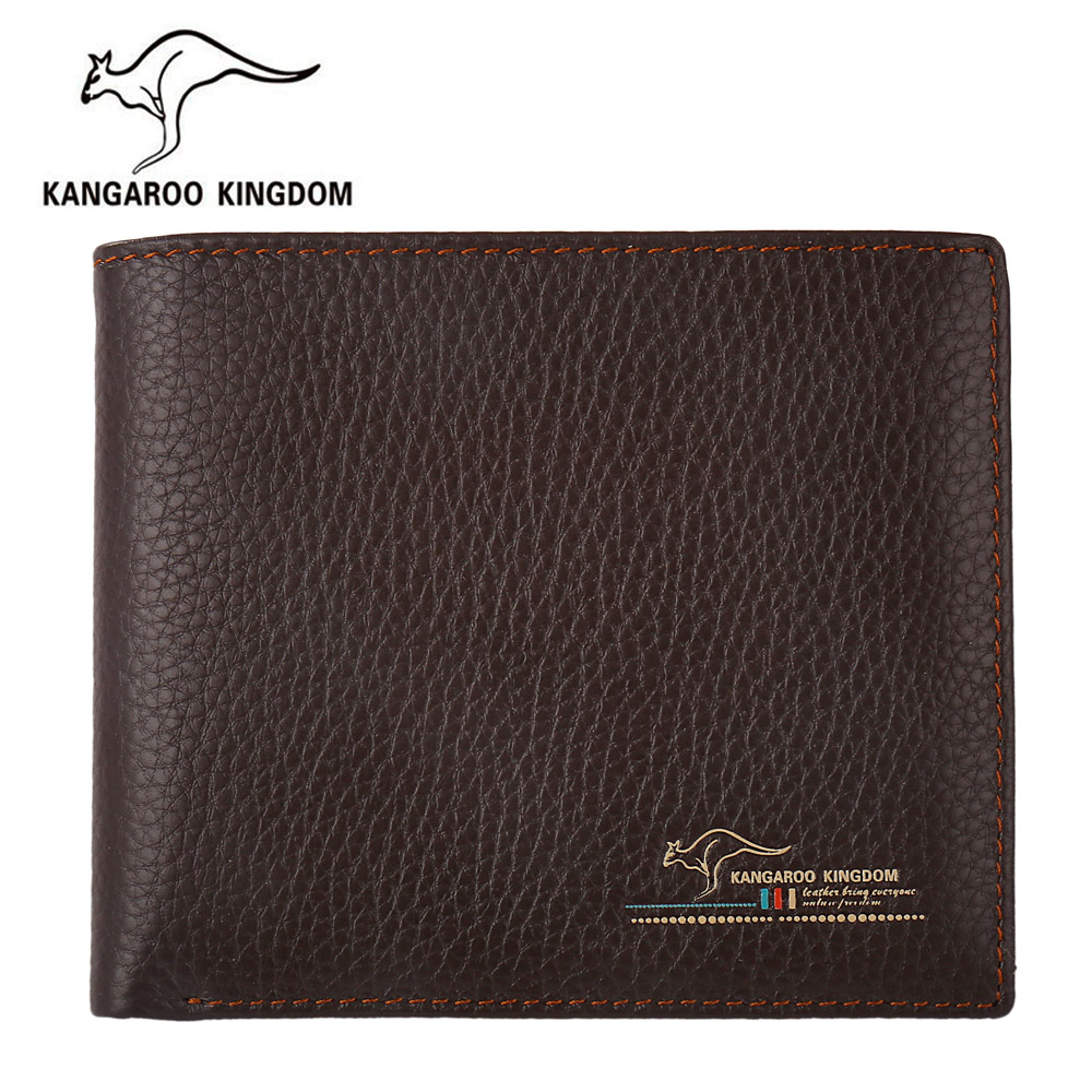 kangaroo kingdom luxury men wallets genuine leather short purse famous brand slim wallet