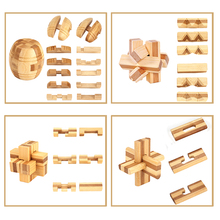 9pcs/lot 3D Eco-friendly bamboo wooden toys IQ brain teaser burr adults puzzle educational kids unlocking games