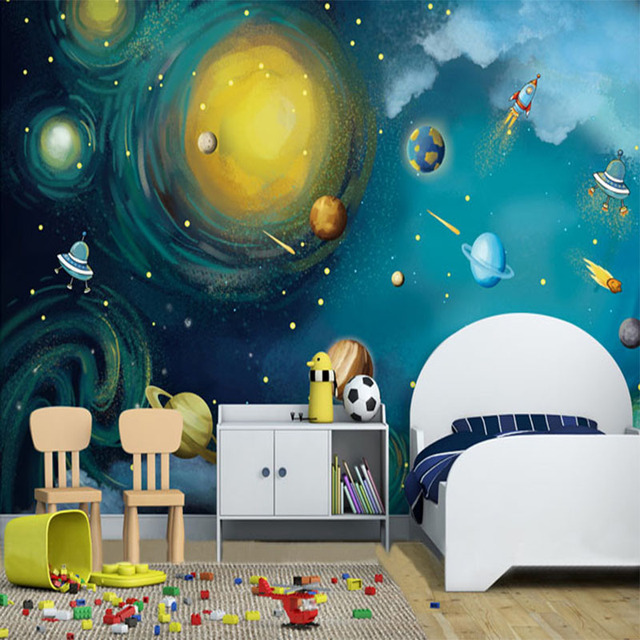 D Wandbild Tapete Fur Wand Astronomische Traum Weltraum Planeten Ol Malerei Kreative Wand Papier Fur Kinder