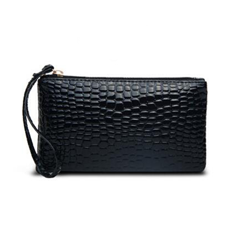 Promotion Crocodile Grain Pattern Womens Clutch Wallet Long Design Coin Cash Small Bag Street Casual Purse for Lady Shopping