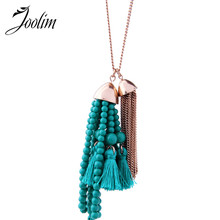 Joolim Blue & Green Pink Bead Tassel Pendant Necklace Bohemian Necklace 569959531164 blue mermaid scales tassel necklace