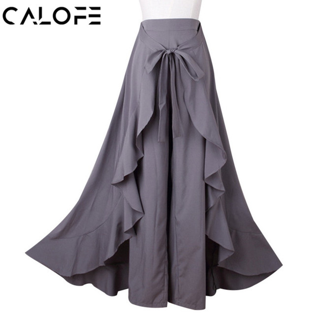c6362d014522a CALOFE Women Loose Pants Skirts Casual Bow Tie High Waist Ruffle Trousers  2018 Fashion Solid Irregular Female Long Harem Pants