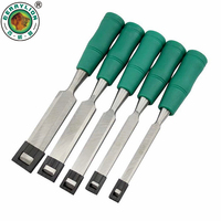 BERRYLION 5pcs Wood Carving Chisel Tools Set 1''/3/4''/1/2''/3/8''/1/4'' Wood Flat Chisel For Woodworking Hand Tools
