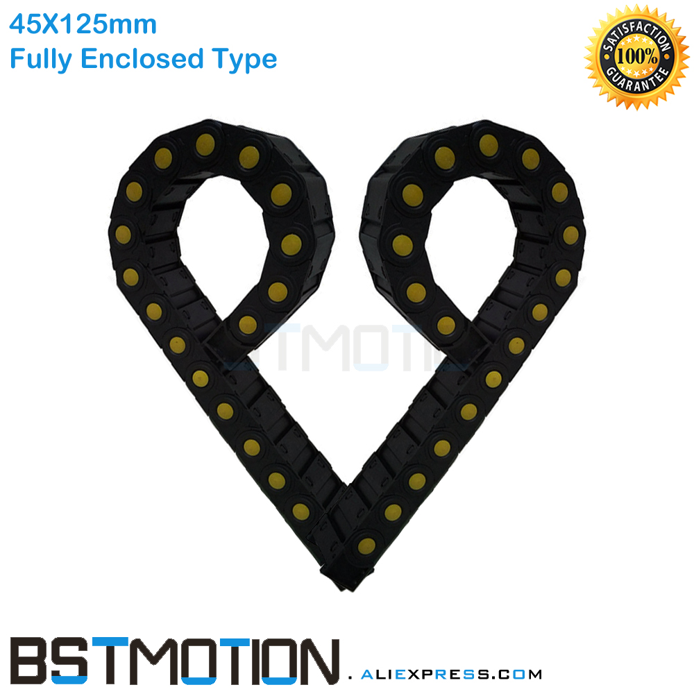 Fully Enclosed Plastic Cable Chain 10meters 45mm x 125mm Cable Drag Chain 45x125mm Wire Carrier with