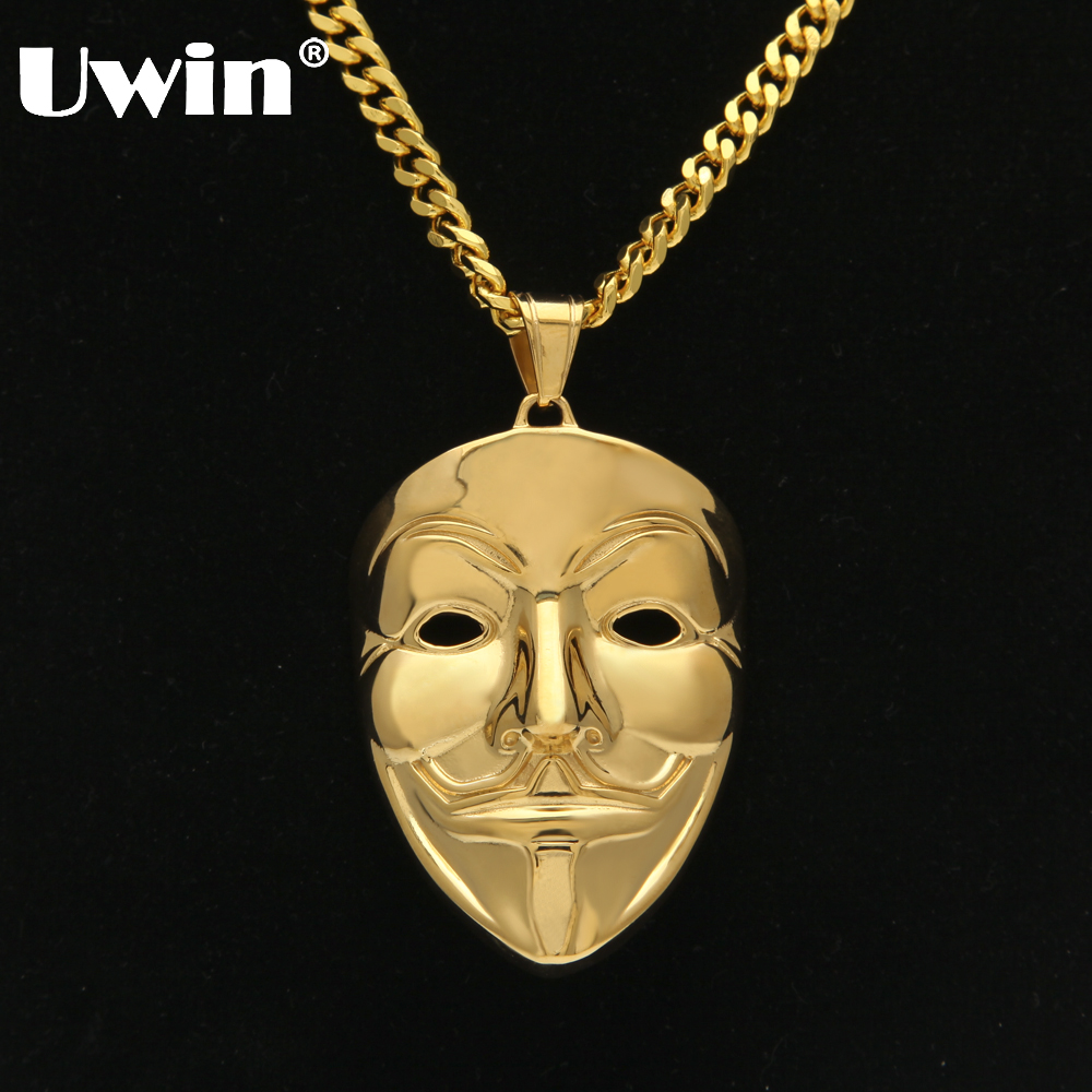 Uwin Drop Shipping Vintage Mask Clown Killer Pendant Stainless Steel Gold Color With free 70cm Cuban Chain Hip hop Necklace