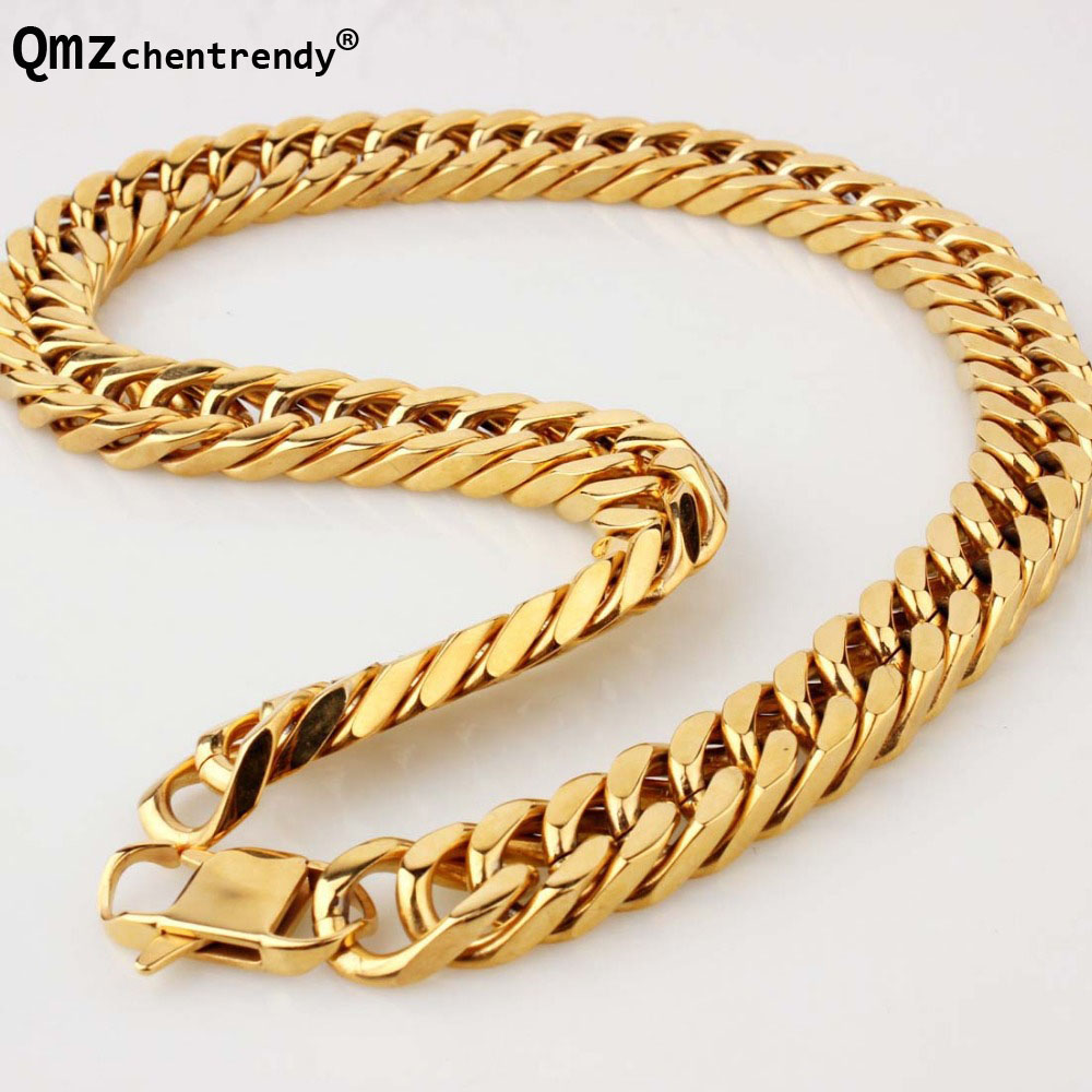 Top quality Hip Hop Mens Titanium Stainless Steel Cuban cubra Gold Chain Link Necklace Rapper Chunky Boys Exaggerated Jewelry 2016 chain link charm china wholesaler top quality mens and womens wide titanium fashion bracelet jewelry