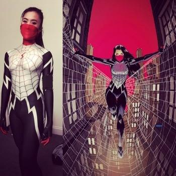 Spider-Gwen Gwenom Women Jumpsuit Mask Venom Spider-Man Costume Cos Halloween