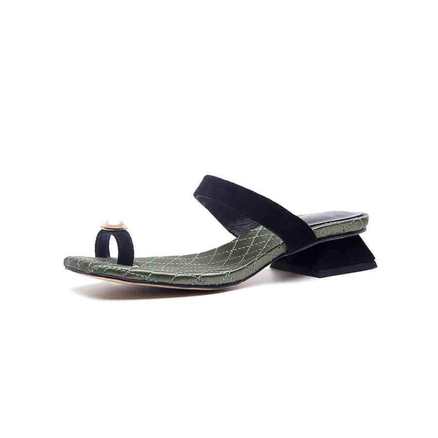 Lenkisen simple design peal decoration kid suede solid peep toe slingback slip on med heels runway sand woman cozy sandals L37