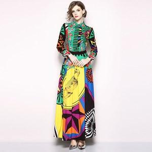 Image 2 - Borisovich מסלול מקסי שמלה חדש 2018 סתיו אופנה הדפסת בציר תורו למטה צווארון אלגנטי Slim נשים המפלגה ארוכה שמלות m659