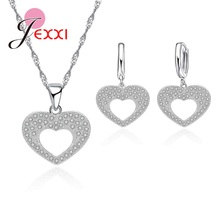 925 Sterling Silver Jewellery Sets With Cubic Zirconia CZ Romantic Heart Pendant Necklace Long Earrings
