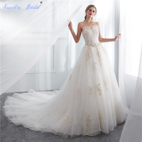Sapphire Bridal Vintage Strapless lace Up White Ivory Gold Lace Long Train Luxury Lace Wedding Dress For brides Vestido De Novia
