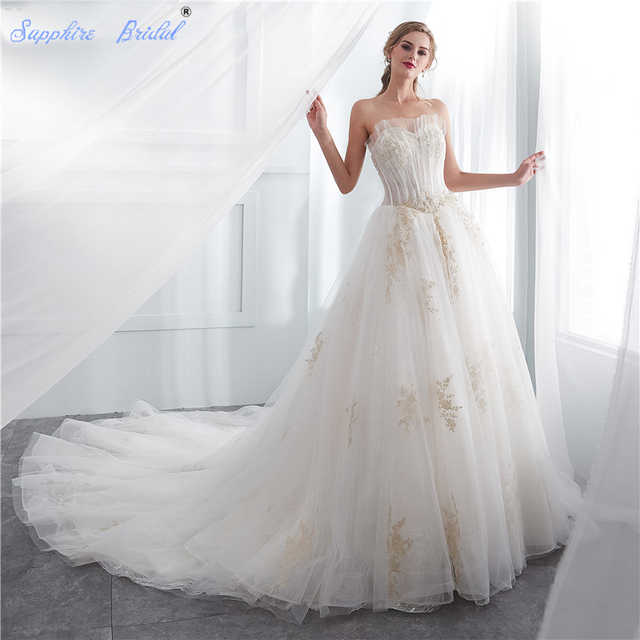 Sapphire Bridal Vintage Strapless lace Up White Ivory Gold Lace Long ...