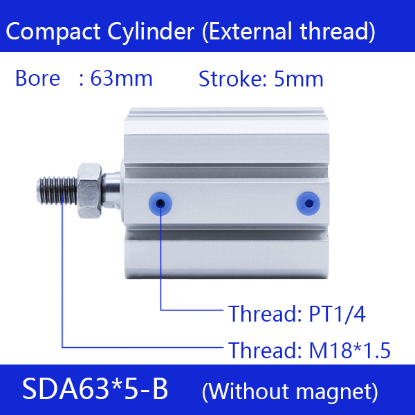 SDA63*5-B Free shipping 63mm Bore 5mm Stroke External thread Compact Air Cylinders Dual Action Air Pneumatic Cylinder