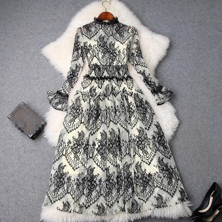 Supérieure S01458 Nouvelle Style Qualité De Luxe Marque 2019 Design Partie Mode Printemps Femmes Robe Européenne RRfTAx
