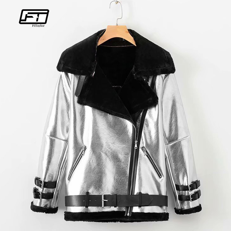 Fitaylor Winter Women Faux Soft   Leather   Lamb Fur Silver Coat Female Warm Thick Female Golden Punk Zipper Faux   Leather   Outerwear