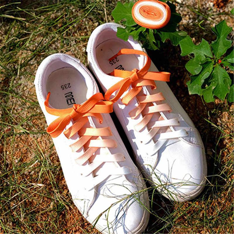 1 пара плоским градиент цвета конфеты изменение цветная обувь шнуровка вечерние Кемпинг ботинки шнурки тканевые шнурки растет тканевые шнурки