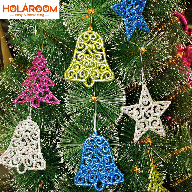 6 pcs xmas tree ornaments star tree bell shape pendant ornament sparkling pendant for home wedding - Christmas Tree Bell Decoration