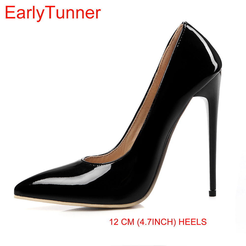 Brand New Sexy Red White Black Women Nude Formal Pumps Ladies Glossy Shoes High Gladiator Heels EM10 3 Plus Big Size 10 12 43 47