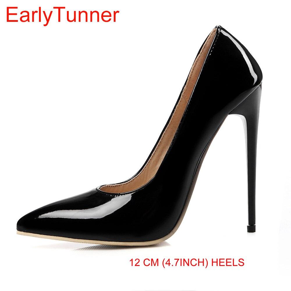 Brand New Sexy Rouge Blanc Noir Femmes Nude Formelle Pompes Dames Brillant chaussures Haute Gladiateur Talons EM10-3, Plus Grande Taille 10 12 43 47