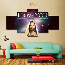 3-4-5 Pieces Jesus Loves You Wall Art Paintings Paining Canvas Picture For Living Room Printed HD Painting