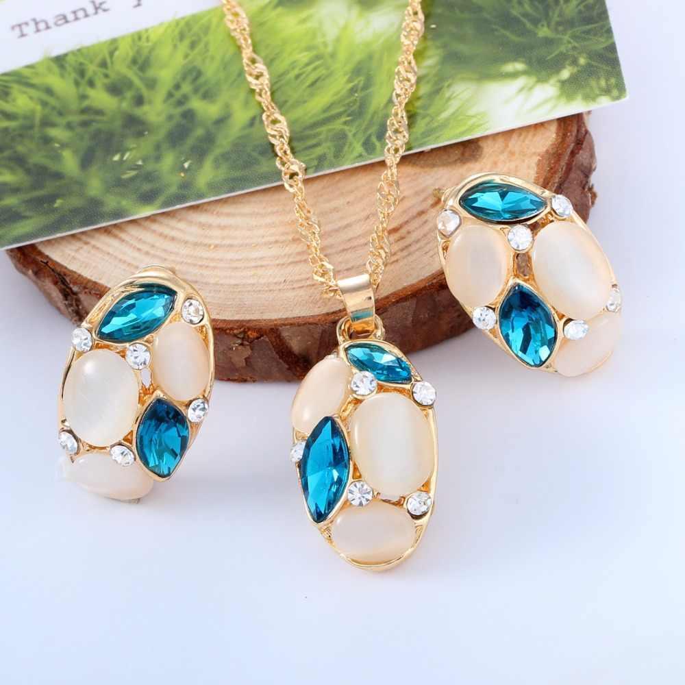 תכשיטים מגדיר אופל יפה שרשרת תליון עין סוס זהב צבע ארוך שרשרת עגילי סט אפריקאי דובאי ערכות תכשיטים לנשים