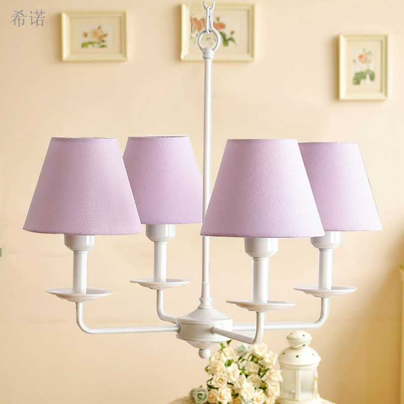 4 Arms children bed room Chandelier for Foyer Living Room Indoor Lamp European style 90-260V E27 lampholder Colorful lampshade