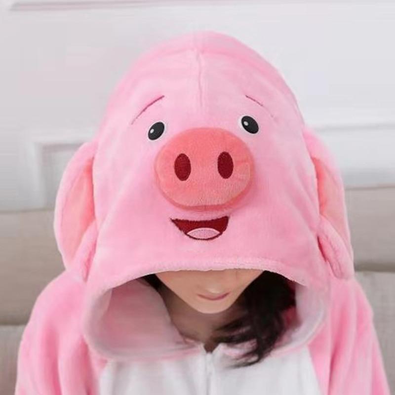 Adult Anime Kigurumi Onesies Rose Pig Costume For Women Cute Animal Blue Donkey Wolf Stitch Onepieces Sleepwear Home Cloths Girl