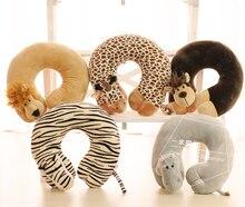 1pc 30cm cartoon lion tiger lion giraffe orangutan elephant crocodile wolf plush rest U neck pillow stuffed toy girl gift